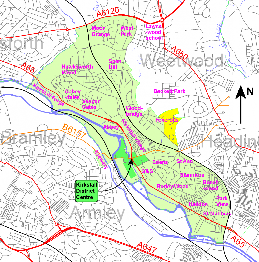 Map of area covered by Kirkstall Neighbourhood Forum
